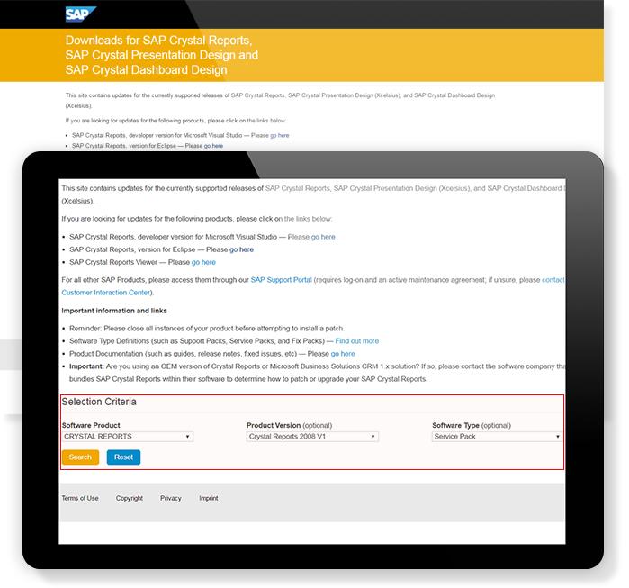 Service Packの入手方法 Crystal Reports 2008 SP07の場合 サンプル画面